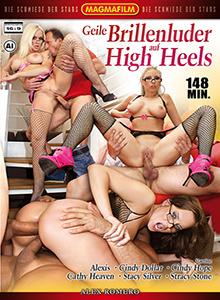 Geile Brillenluder auf High Heels