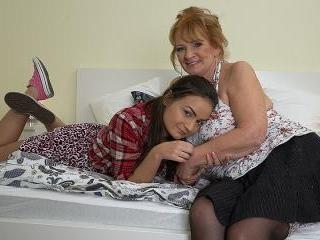 Horny grandma and teen girlfriend in heat