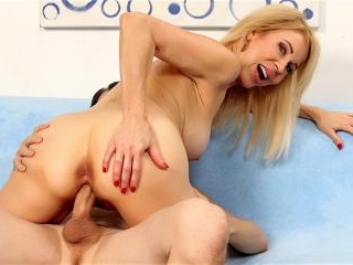 Horny Granny Erica Lauren Sucks on a Cock and Then