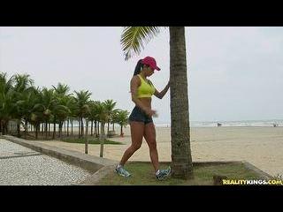 Hot Brazilian chick takes a hard pounding