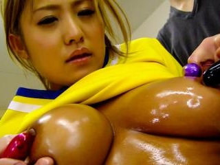 Dirty Asian cheerleader gets her pussy played with