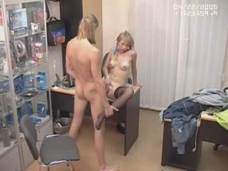Blonde in stockings hardly banged!