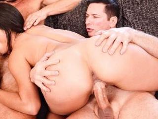 Sexy Latina Fucks Father & Son