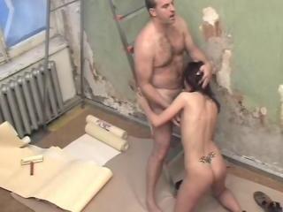 Hot servant does blowjob!