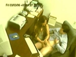 Hand job in the office!