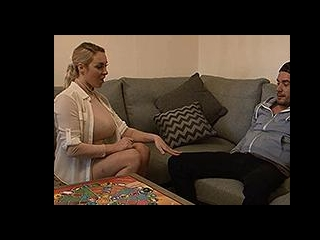 Curvy blonde with big tits gives an amazing blowjo