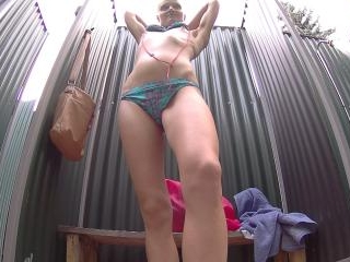 Young Blonde Teen Cought in Public Pool