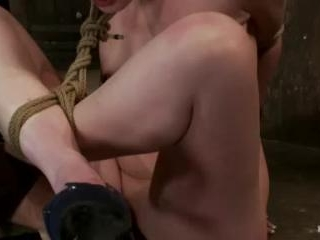Sexy Irish girl is severely bound, made to suck co