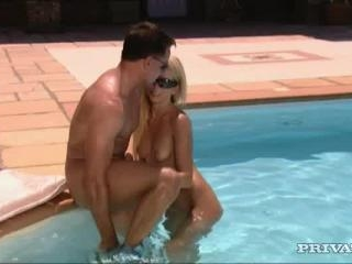 Mia in Blonde babe fucks by the pool