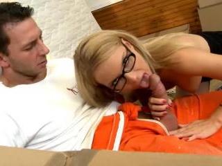Sexy blonde secretary doing blowjob