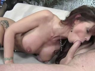 Mature redhead Syren De Mer in sexy stockings and