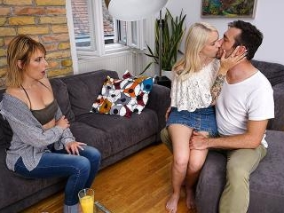Stepdaughter and stepmom share a guy for some stea