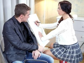 Christy gets her tricky old teacher to play with h
