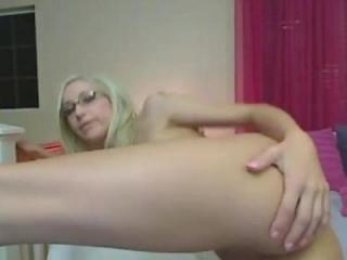 Naked blonde girlfriend spreads cunt