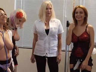 Four women peg and abuse their creepy gynecologist
