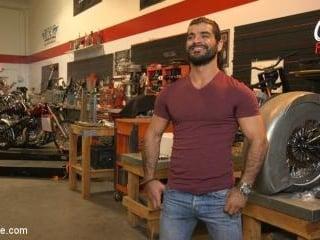Hot biker gets edged in the motorcycle garage