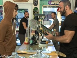 Horny crowd jumps on a ripped stud in a skate shop
