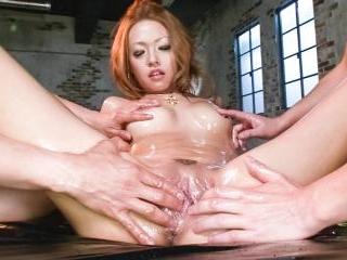 Cock gobbling Rei Miyakawa finds two dicks shoved