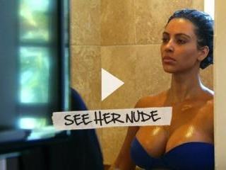 Kim Kardashian flashes her huge tits and plump ass