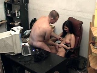 Fat man drills his sub in the office!