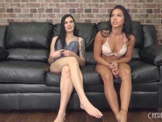 Lesbians Morgan Lee and Marley Brinx Cum LIVE