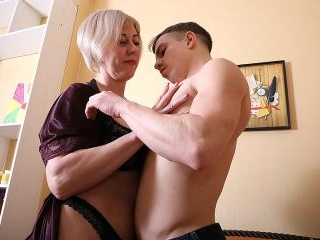 Horny mature lady having fun with her toy boy