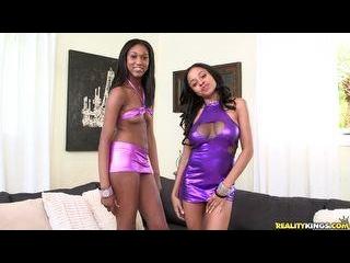 Lola and Anya double team Brick\'s hard cock