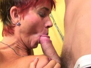 Redheader oldie playing with pussy after blowjob