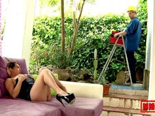 Busty milf fucking the young plumber