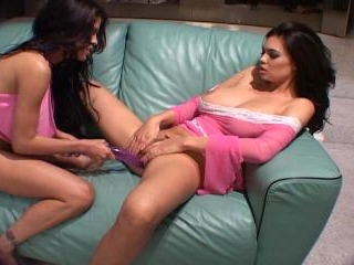 Playing With Her Girlfriend And A Purple Dildo