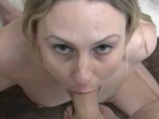 Horny housewife Jen goes down on a stiff cock befo
