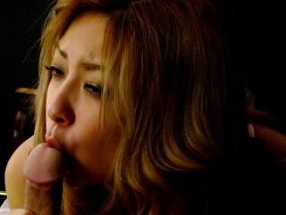 Blonde Asian in lingerie gives him a sensual blowj