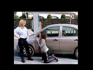 Begging the police woman