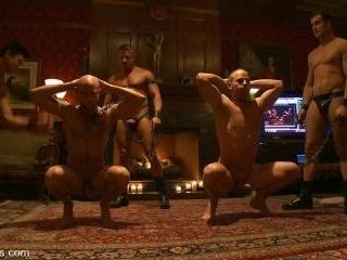 All Male Bondage Gang Bang on the Upper Floor Live