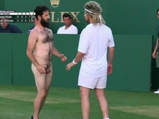 Chris runs onto the tennis court nude and begins m