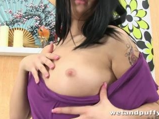 Rebecca uses dildos to fill her pussy and tight as