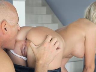 Chick with big tits satisfies old man at home afte