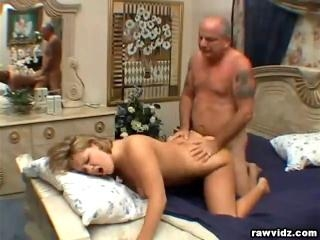 Claire James rides old man\'s hard cock