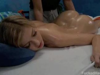 Abigalie seduced and fucked hard by her massage th