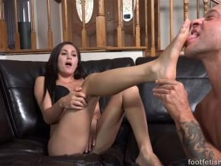 Young Brunette Has Feet Sucked and Pussy Thrusted