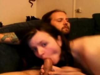 Horny chick sucking on a boner