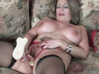 Horny granny Sandie Marquez in lingerie and fuckin