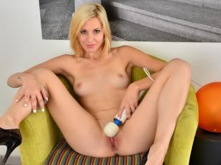 Blonde coed uses a vibrating toy to reach orgasmic