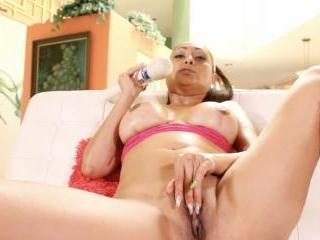 Sexy Indian MIlf Priya Rai using her vibrator to c