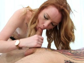 Hot ginger Katy Kiss got cum inside her pink pussy