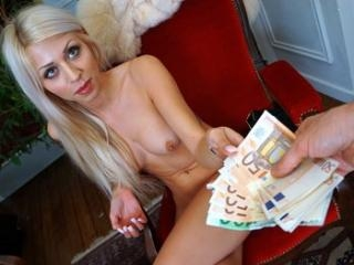Smokin French Blonde Flashes Tits