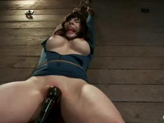 Big titted MILF, feels the evil bite of a crotch r