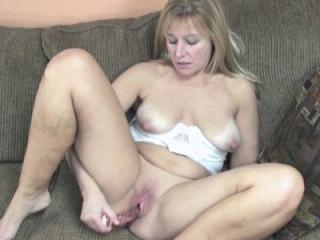 Mature blonde Liisa in slutty white lingerie and u