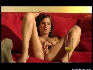 Viktorie  : A horny brunette plays with a dildo fo