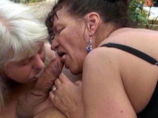 Amateur granny foursome at the farmhouse